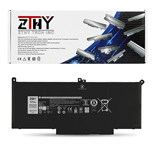 ZTHY 60Wh F3YGT Laptop Battery Replacement for Dell Latitude 12 7000 7280 7290/13 7000 7380 7390/14 7000 7480 7490 Series DM3WC 0DM3WC 2X39G 7.6V 4-Cell Dell Latitude Battery Life
