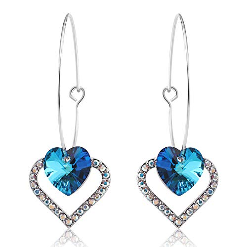 (Richapex Blue Crystal Earrings Double Heart Drop Dangle Hoop Earrings, Crystals from)
