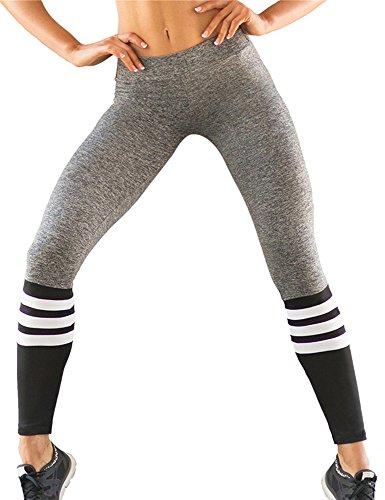 Voglee Women Striped Print Stretch Workout Legging Plus Size Sport (Striped Yoga)