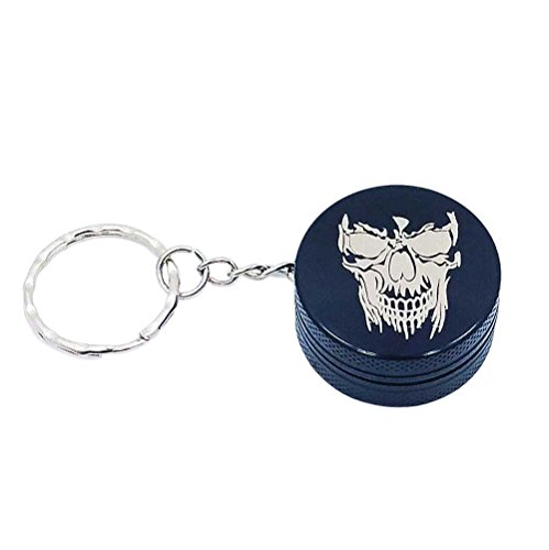 Skull 2 Mini 2 Piece Aluminum Keychain Grinder from Smoke Promos - Black, Blue or Red