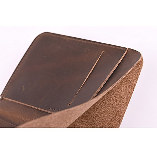 ZE Men's Handmade Front Pocket Vertical Short Bifold Leather Wallet,Vintage Style