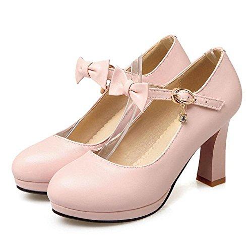 TAOFFEN Women's High Heel Court Shoes Bow Pink hUtb3