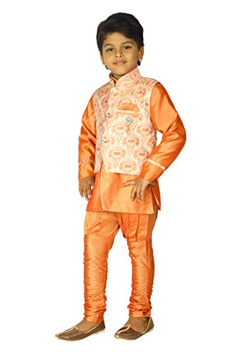 Ahhaaaa Kids Ethnic Indian Dupion Silk Kurta Pyjama and Waistcoat Set for Baby Boys (9-10 Years, Orange) by ahhaaaa (Image #3)