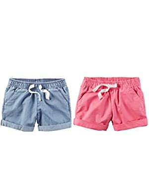 Toddler Girl's 2 Pack Pull On Play Shorts