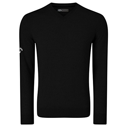 Callaway V-neck Pullover - Callaway Mens Ribbed V Neck Merino Sweater (L) (Black Onyx)