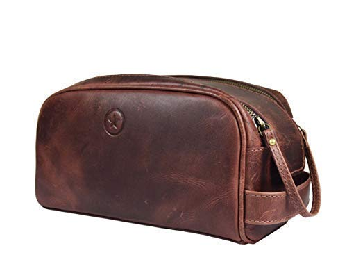 Leather Toiletry Bag for Men | Grooming Travel Kit | By Aaron Leather (Walnut - Dual Zipper) by AARON LEATHER GOODS VENDIMIA ESTILO (Image #9)