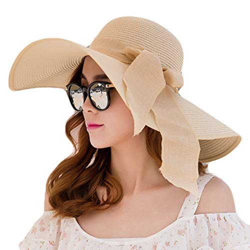 Striped Terry Hat - Ladies Summer Hats with Brim New Brand Straw Hats for Women Beach Sun Hats Floppy Sunhat Apricot
