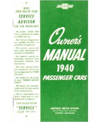 1940 CHEVROLET Full Line Owners Manual User Guide Chevy Full Line