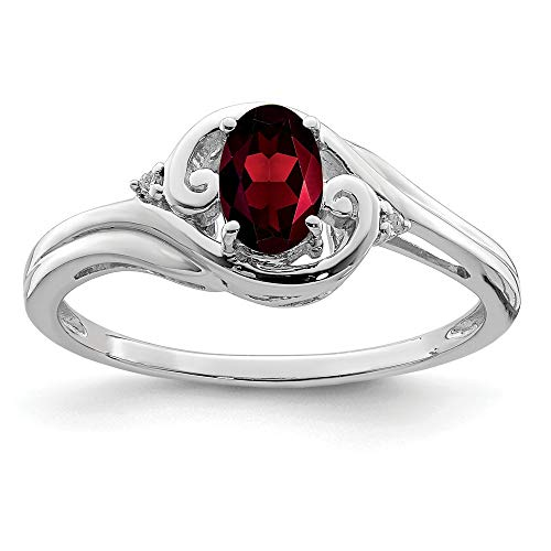 925 Sterling Silver Diamond Red Garnet Band Ring Size 9.00 Gemstone Fine Jewelry Gifts For Women For Her ()