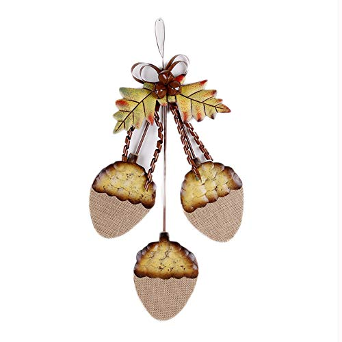 YK Decor Metal Fall Acorn Cluster Sign Wall Hanging Ornaments Decor for Front Door Indoor Outdoor Autumn Decor