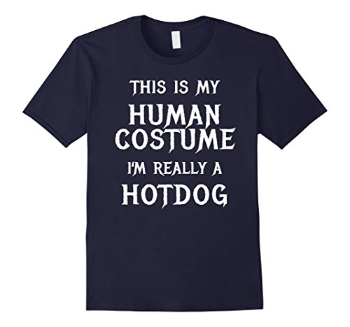 Mens Hotdog Halloween Costume Shirt Easy Funny Women Men Kids 3XL Navy