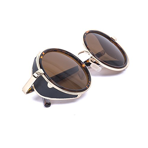 Vintage 50s Steampunk Round Mirror Lens Glasses Sun Glasses Men Women Unisex Retro Style Glasses Circle Frame Blinder Sunglasses Cyber Goggels Eyeglasses Eyewear - Golf Sunglasses Bloc