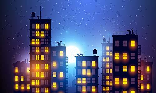 Photography Background Super Hero City Photo Studio Beautiful Moon Backdrops Vinyl MTMETY 5X3ft