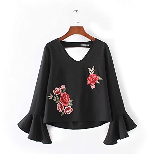 Rcool Mujeres Halter Appliques Rosa suelta manguito manga casual camisa Top Blusa Negro