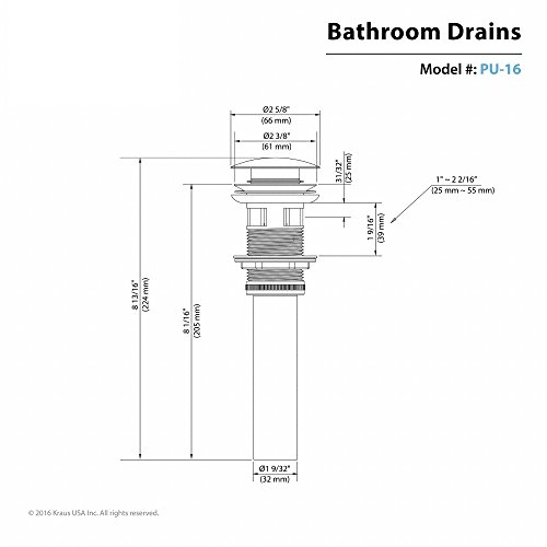 Kraus PU-16G Pop Up Drain with Overflow, Gold free shipping