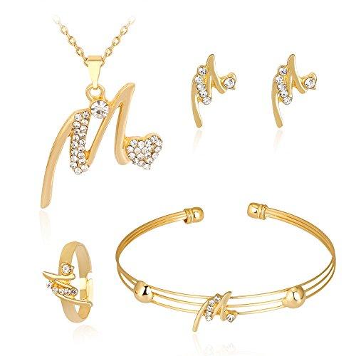 Wedding Necklace Bracelet Rings Earrings Jewelry Set Lady Women Rhinestone Ear Studs Bangles (A) 17' Necklace Bracelet Earring