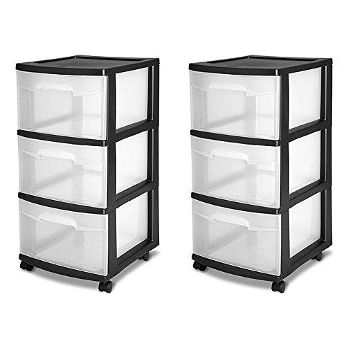 STERILITE 3-Drawer Storage Cart, Clear with Black Frame (2-Pack) | 2 x 28309002 (Sterilite 3 Drawer Cart Black)