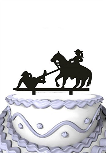 Meijiafei Wedding Cake Topper - Bride Rides the Horse Drugging the Groom for Rustic Wedding Party Supplies -