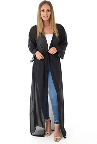 Damen Maxi Chiffon Gürtel lange Ärmel fließenden Strickjacke Plus Size Schwarz xPM1Z