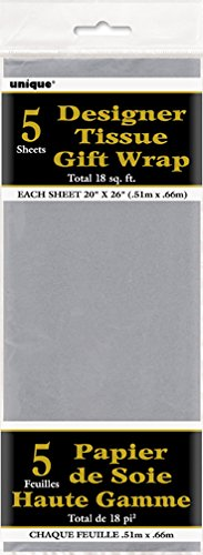Metallic Silver Tissue Paper Sheets
