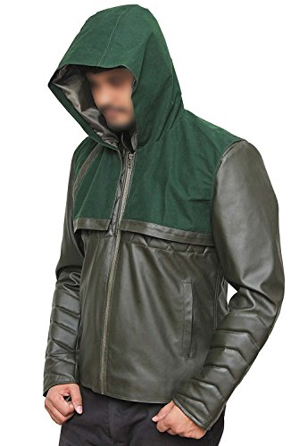 Green Arrow Costume Accessories (Superhero Costume PU Leather Jacket Collection (XL, Arrow Green))