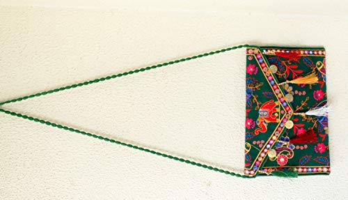 Yellow Handmade Clutch Green Purse Indian Embroidery Banjara Cotton Tribal Bags Ethnic Vintage 8Z0dZPx