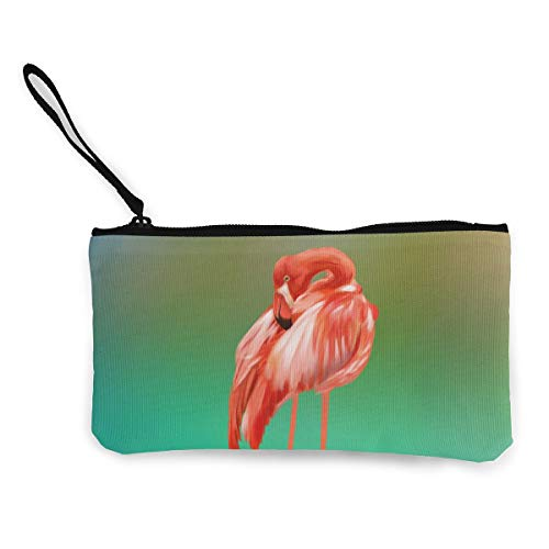Terany Canvas Pencil Case - Flamingo Clip Art Durable Cosmetic Makeup Bag Zipper Closure Coin Purse Wallet Phone Pouch with Handle for Kids Adults]()
