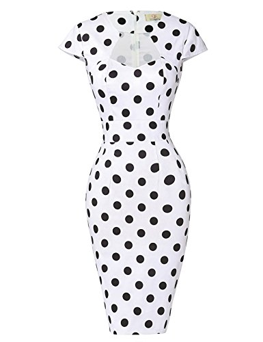 GRACE KARIN Dress Womens Cap Sleeve Cocktail Vintage Dress White Black(S)