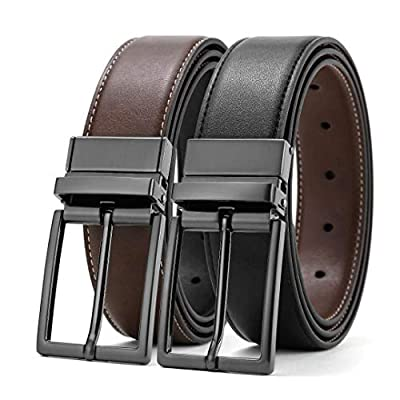 Belts for Men Black and Brown Leather Belts Big and Tall Black and Reversible Belt Black Rotated Buckle Dress Belts All Sizes