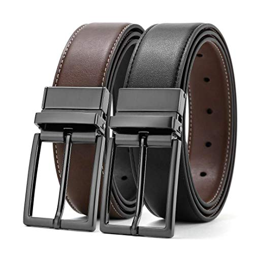 (Men Belt Belts for Men Reversible Belt Black Rotated Buckle Reversible Leather Dress Business Casual Belts Brown Black 38 Belt 35&36 Waist Size )
