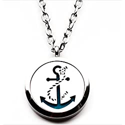 The Soul Vacation 'Anchor' Essential Oil Diffuser Necklace Aromatherapy Pendant, Jewelry Bag, and Extra Pads