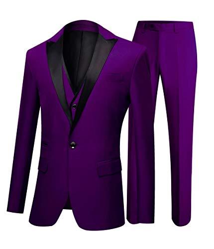 One Button 3 Pieces Purple Wedding Suits Notch Lapel Men Suits Groom Tuxedos Purple 34 chest / 28 waist