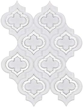 Steppe Chelsea Super White /& Silver Dust Marble Waterjet Mosaic Tile Sample