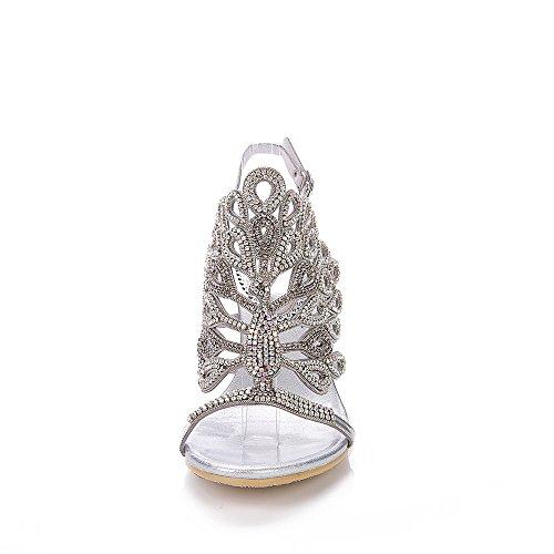 Unicrystal - Sandalias de vestir de Material Sintético para mujer Plateado - plata