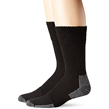 Dr. Scholl's Men's Diabetic and Circulatory Work 2 Pack Crew Sock, Black, Sock Size: 10-13/Shoe Size:7-12