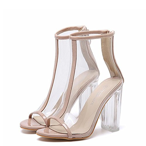 Zipper Sandals Plastic Toe Womens Short Pump Khaki Boots Peep Sandals Fheaven Summer Transparent Yvww6