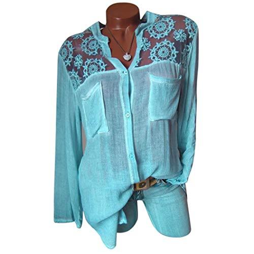 Automne Femme Casual Tops Longue 6 Vetement Manche Chic Basique Lin Bleu Haut Tee Chemise Hiver V Habite Col Shirt SANFAHSION Travaille Mode Florale qwHFnAg
