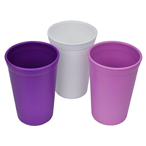 Re-Play Made in The USA 3pk Drinking Cups for Baby and Toddler - Purple, White, Amethyst (Violets)