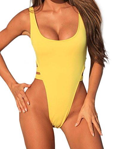 stripsky Swimsuit Backless Bathing Yellow