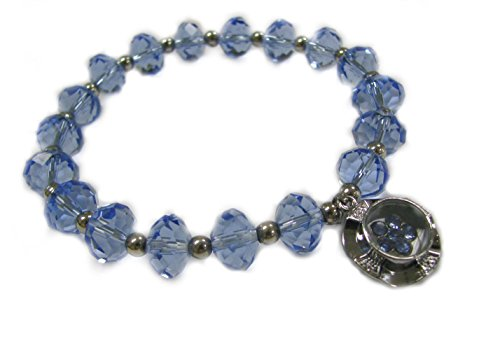 - Linpeng Spinner Charm Topaz Blue Faceted Rondelle Crystal Beads Stretch Bracelet in Free Gift Bag_Pup07-12