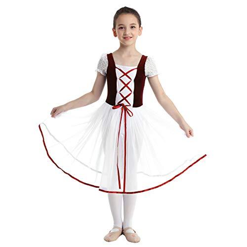 easyforever Kids Girls Tutu Dress Velvet Mesh Lacework Short Bubble Sleeves Gymnastics Ballet Dance Leotard Burgundy 10-12