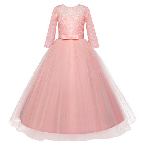 IWEMEK Girls Tulle Lace Flower Wedding Bridesmaid Dress Floor Length Half Sleeve Princess Long A Line Pageant Formal Prom Dance Gown Pink -Half Sleeve ()