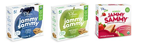 Plum Organics Jammy Sammy Variety Pack - Blueberry, Apple Cinnamon, Peanut Butter & Strawberry (15 Bars Total - 5 of Each Flavor)