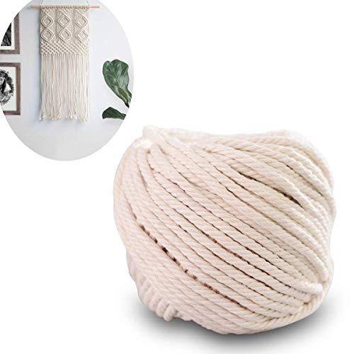 CBTONE Macrame Cord 4-Strand Twisted (4mm x 100m(About 109 yd)) 100% Natural Cotton Soft Cotton Rope for Handmade Plant Hanger, Wall Hanging, Crafts, Knitting, Decorative Projects Original Color Cotto - Natural Twisted