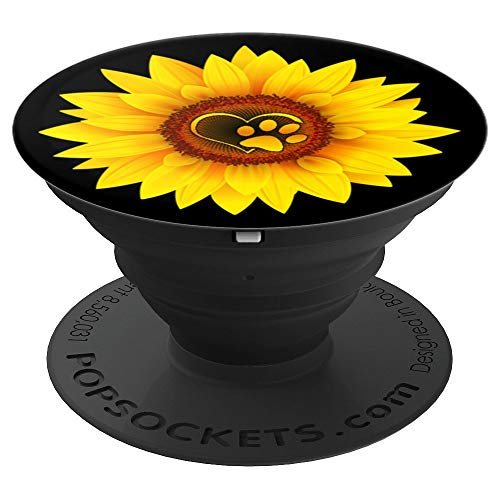 Paw Print Dog - Paw Print Dog Paw Cute Dog Love Yellow Sunflower on Black - PopSockets Grip and Stand for Phones and Tablets