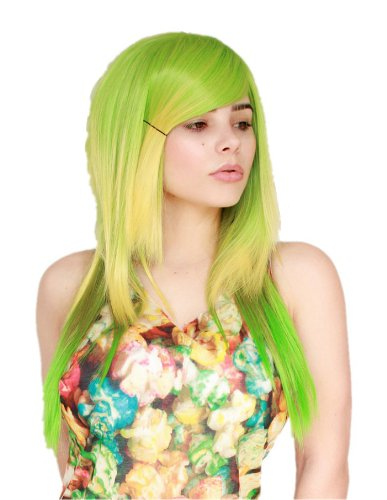 Prettyland C1415 - 60cm Megpoid Vocaloid Gumi Peluca verde degradada a larga melena en capas para
