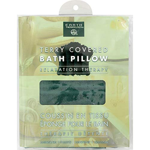 Earth Therapeutics Terry Bath Pillow Green - Terry Earth Pillow Therapeutics Covered Bath