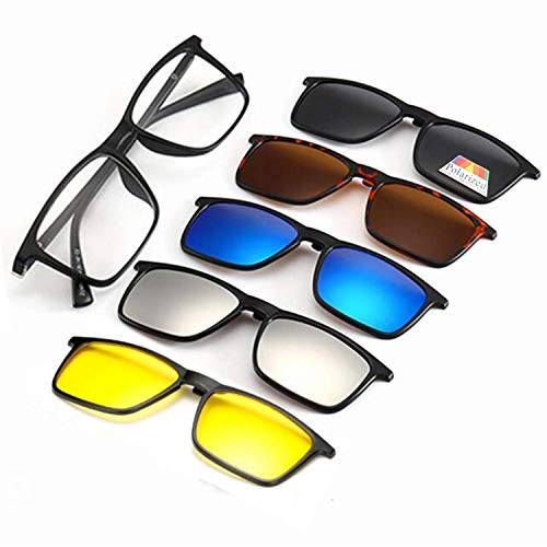 Polarized Sunglasses Magnetic Clip-On, Set Of 5 Lens with Storage Purse (3D Vision Lens, Anti Glare Night Vision Lens, Polarized Gray Lenses, Mirrored Blue Lenses, Mirrored Silver ()