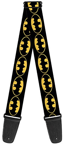 Batman DC Comics Superhero Black Back Shield Logo Fun Guitar Strap (Logo Guitar Dc)