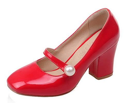 Rosso Donna Tirare Ballet Tacco Flats Medio AllhqFashion Puro FBUIDD007101 1T78xwxq